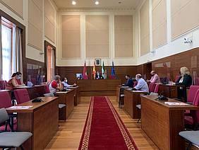 reunion en el salon de plenos del alcalde con empresarios y E-Distribución