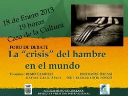 """Foro debate""""La crisis del hambre en el mundo""""."""