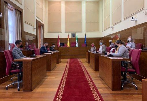 reunion en el salon de plenos entre la delegada de fomento, pepa vela, comerciantes, hosteleros y empresarios