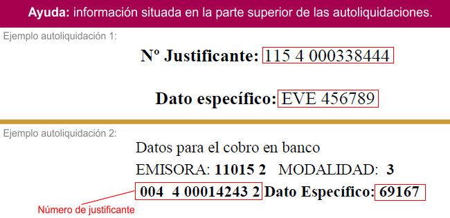 Ayuda para la introducción del número de justificante y dato específico